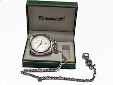 PRIMEMAX OPEN POCKETWATCH, ENGRAVABLE BACK CASE, SILVER FINISH,WITH DATE & CHAIN
