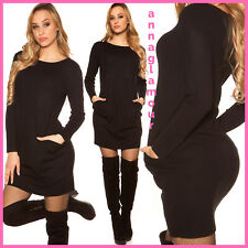 WOMENS BLACK CASUAL LONG SLEEVE JUMPER DRESS PULLOVER SWEATER WITH FRONT POCKETS