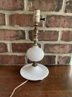 Rustic Farmhouse Vintage White Milk Glass Hobnail Table Lamp Vintage Works Well