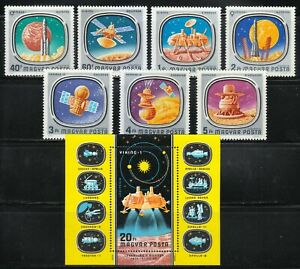 Hungary 1976 MNH Mi 3148-3154+Block 121 Sc C366-C373 USA-USSR space missions **