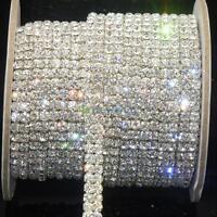 SS16x1 Yard 2-Row Clear Crystal Rhinestone Trims Close Chain Silver DIY Decor