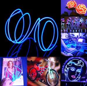LED EL Wire Neon Light Glow String Strip 5m Rope Car Decor Party Blue Tube Lamp