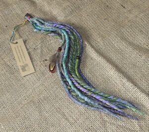 Clip In Dreads Pastel Blue Purple Green Felted Dreadlocks Bohemian Boho Festival