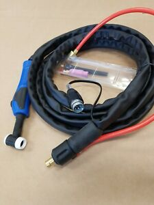 WP17 4 MTR TIG WELDING TORCH with 5 pin plug to suit EWM and gas / power adaptor
