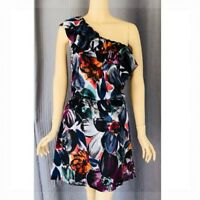 LAUREN CONRAD Sexy Ruffled One Shoulder Silky Black Floral Print Dress Size 6