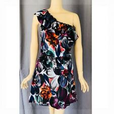 LAUREN CONRAD Sexy Ruffled One Shoulder Silky Black Floral Print Dress Size 6