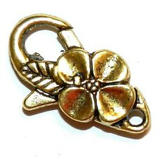 M5142L Antiqued Gold Large 25mm Flower Design Lobster Claw Focal Clasp 5pc