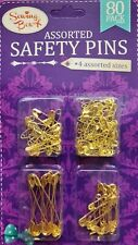 SEWING BOX GOLD TONE METAL SAFETY PINS  80 PCS. IN 4 ASSORTED SIZES.