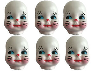 6 Child Bunny Rabbit Costume Celluloid Doll Masks Faces Craft Doll Making VTG