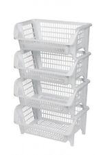4 x Küchenkorb Stapelkorb Gemüsekiste Stapelkasten Stapelbox Küchenregal Weiß