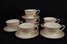 Beautiful Pink Striped Fine Bone China Tea Cup and Saucer Set