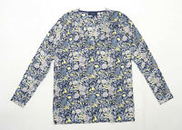 Next Womens Size 14 Floral Cotton Blend Blue Top (Regular)