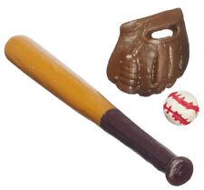 Dollhouse Miniature - Baseball Set - Bat, Ball & Glove 1:12 Scale