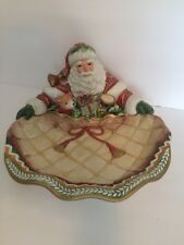 Fitz And Floyd Winter Holiday Santa Server Platter Hand Painted Gold Embellished