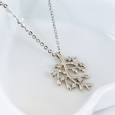 Genuine 925 Sterling Silver Solid Crystal Tree of Life Charm Pendant Necklace
