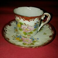 GY JAPONIC ANTIQUE HAND PAINTED PORCELAIN CUP & SAUCER SET RED GOLD TRIM