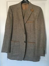 Frankenberger's small tweed Mens Vtg Suit leather details