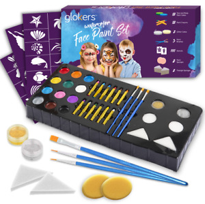 glokers Watercolor Complete Face Paint kit for Kids & Adults Great for Halloween