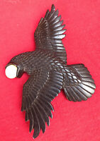 Magnificent Carved Jet Raven ~ Crow Carrying The Moon Shamanic Power Pendant