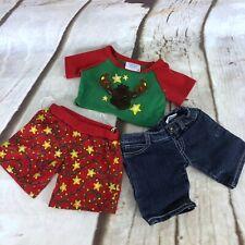 Build A Bear Clothing Outfit Lot Christmas Pajamas Denim Shorts 3 Pc