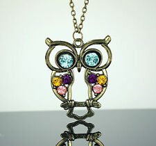Womans Necklace Owl Crystal Bird Pendant 68 cm long Chain