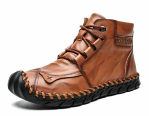 Solid Color Genuine Leather Men British Style Casual Shoes Handsewn Ankle Boots