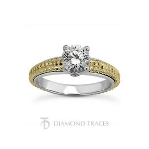 1/2ct D SI2 Round Natural Certified Diamonds 18k  Vintage Style Engagement Ring