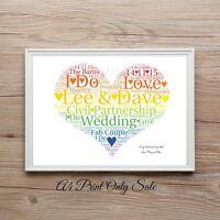 Personalised Same Sex Gay Lesbian Engagement Wedding Word Art Gift Print