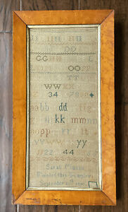 Antique Early 19th Century Cross Stitch Alphabet & Numbers Sampler