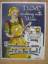 Cooking with Wine Tin Metal Sign Decor Food Kitchen Funny Humorous Cook NEW