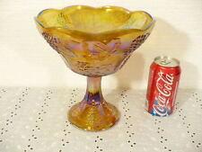 "Marigold Carnival glass beautiful 8-1/2"" elegant Compote in Grapes & Vines"