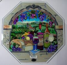 AMIA - HAND PAINTED GLASS WINE and CHEESE OCTAGON PLATE NEW & MINT IN BOX 6596