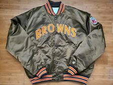Vintage Mens Starter Cleveland Browns Satin Jacket Size XXL-Brown