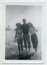 Vintage  snapshot   photo  lady in bathing suit swimsuit beach rollercoaster