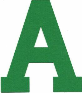"5 1/8"" x 6"" inch Green Block Athletic Letterman's Letter A Felt Patch"