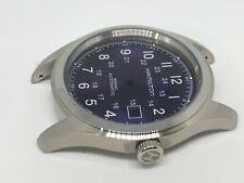 BEAUTIFUL HAMILTON KHAKI LARGE CASED GENTS WATCH CASE SET.(PURPLE/BLUE DIAL).