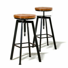 Levede BR1001-2 Wooden Industrial Bar Stools - 2 Count - Brown