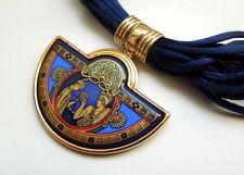 Authentic MICHAELA FREY TEAM WIEN Enamel Half Moon Blue Necklace w/Box