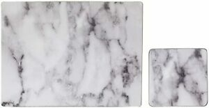 New Matte Laminate Finish Set of 4 White Marble Effect Placemats & Coasters M-21