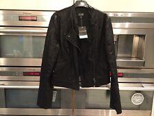 Topshop Womens Black Faux Leather Biker Jacket Size 10