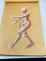 Vintage Artist Large Sketchbook Nude Drawings 23 pages
