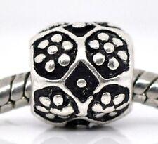 Flower Floral Black Charmadillo Spacer Bead fits Silver European Charm Bracelet