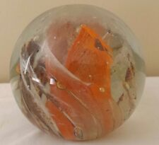 Vintage Kerry Art Glass Ireland Paperweight Orange Brown Tan Swirl