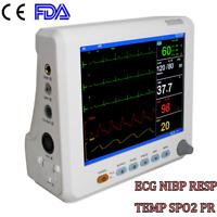"Medical Portable 8"" Vital Signs Patient Monitor Meter ECG NIBP RESP SPO2 TEMP"