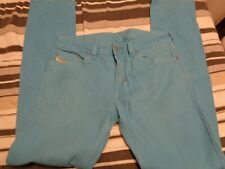 DIESEL INDUSTRY Mens BABY Blue Jeans SIZE 28 Cow Leather Straight
