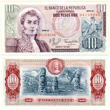 Colombia 10 Pesos Oro P#407h (1980) Serie AZ Banco de la República UNC