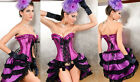 Purple Satin Burlesque Moulin Rouge Hens Party Dress Costume Corset + Skirt S-6X