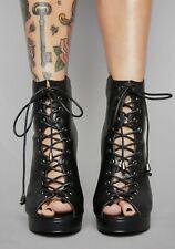 Dolls Kill Spirit Crusher Gothic Lace Up Boot Heels Size 6 New Black Platform
