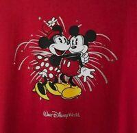Walt Disney World Parks Mickey Minnie Mouse Fireworks Stars T-Shirt Womens SMALL