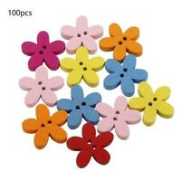 100pcs 20mm Colorful Flower Flatback Wooden Button Sewing Craft Scrapbooking DIY